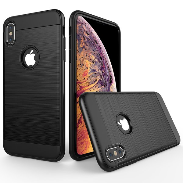 iPhone XS / iPhone X Hülle Brushed Carbondesign doppelte...
