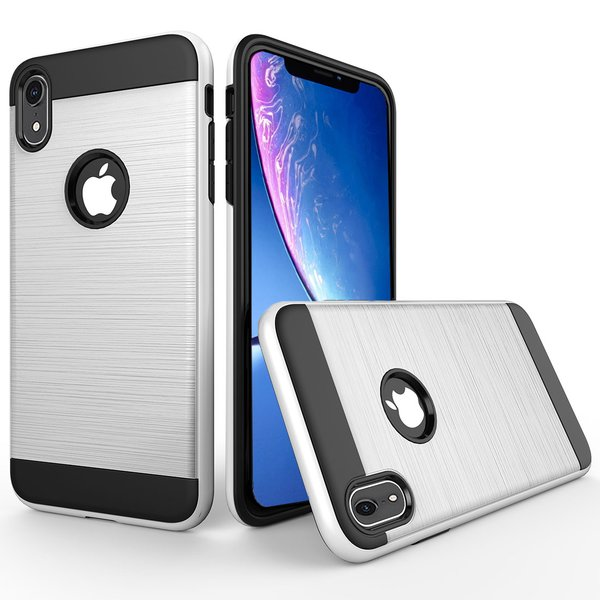 iPhone XR Hülle Brushed Metall-Design doppelte Schicht...
